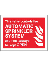 This Valve Controls Automatic Sprinkler System and must Always be Kept Open