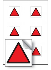 6 x Red Triangle Vibration Safety - 25 x 25mm