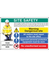 Site Safety - Dangerous Site - Visitors - PPE - Access - Custom - Banner with Eyelets - 1270 x 810mm