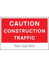 Caution Construction Traffic - Site Saver Sign - 600 x 400mm