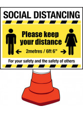 Social Distancing Cone Sign